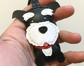 Small size - Mark the Schnauzer cowhide leather charm ( Black )