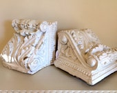 Antique Architectural Corbel Pair Hand Carved Shelf Brackets Chippy Painted Book Ends Roman