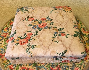 Vintage Rose French Floral Fabric Covered Box