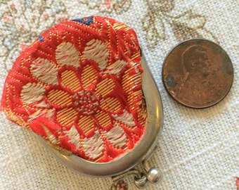 Tiny Vintage Miniature Coin Purse Orange Silk JAPAN