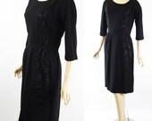 1950s Black Crepe Dress with Satin Applique Topaz Original B42 W28
