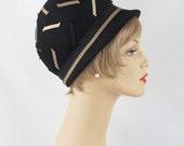 1960s 1970s MOD Hat Black Brimmed Bubble Crown Brimmed Sz 21 1/2