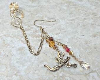 Gold Fairy Chain Gold Bajoran Chain Ear Cuff Earring, Boho Ear Jacket Climber, Gift For Her