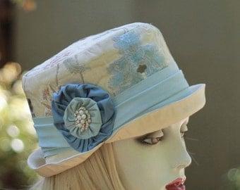 Designer Edwardian Hat Downton Abbey Riding Bucket Steampunk Brocade Cream and Blue