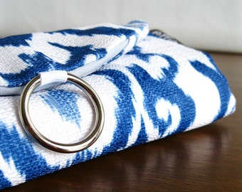 Travel Jewelry Organizer. Blue Ikat Travel Jewelry Roll. Jewelry Travel Case. Travel Gift Ideas for Women. Gifts under 50. Travel Essentials