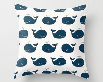 Whale Pillow cover Navy Blue Pillow Cover Decorative Pillow Cover Nautical Pillows Size Choice