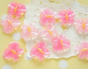 SALE 13 pcs Pink  Butterfly Cabochon (18mm21mm) DR331 (((LAST/ no restock)))