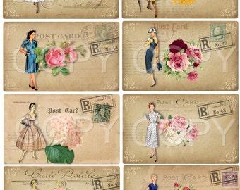 Instant Download -   Vintage Woman Postcards - 2.5 x 3.5  inches  -  Printable Digital Collage Sheet - Digital Download