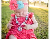 SALE Baby Frozen Lace Romper Headband Necklace SET, Anna and Elsa Petti Romper And Baby Headband, Baby Outfit, Baby Photo Prop