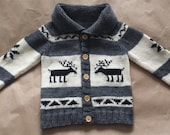 Deer Sweater, Cowichan Style Sweater, Knit Children's Sweater, Size 2, Wool Sweater, Ready to Ship, Cardigan