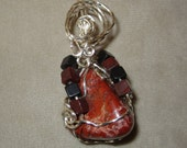 Red Jasper,Red Necklace,Pendant Necklace, Wire Wrap Pendant,Crystal Pendant,Red Jasper Pendant,Red Jasper Necklace, #139