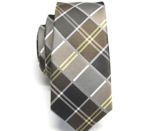 Mens Tie. Skinny Ties. Brown and Yellow Plaid Skinny Necktie