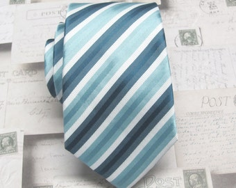Mens Tie Necktie Blue White Stripe Mens Narrow Neck Tie
