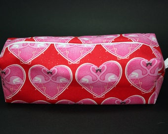 Boxy Makeup Bag - Pink Flamingos in Hearts Valentine's with Zipper - Pencil Pouch