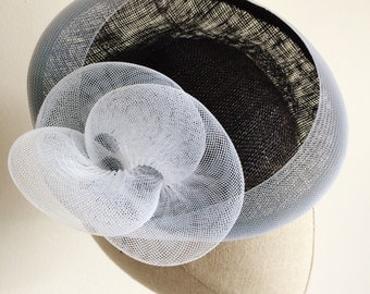 Navy and White Saucer Cocktail Hat Millinery