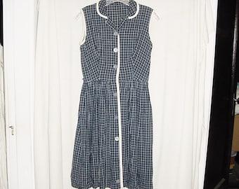 Vintage 50s Blue Plaid Button Up Cotton Sleeveless Dress M