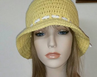 Yellow Cotton Bow Tie Cloche Hat