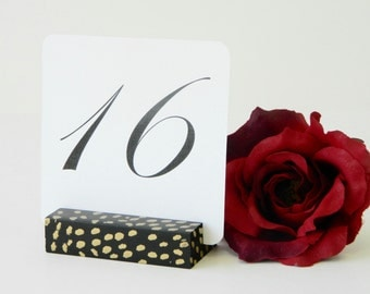 Table Number Holders +  Black and Gold Polka Dot Confetti Table Number Holders-Set of 10
