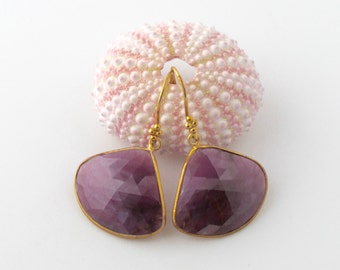 SALE! Gold Bezel Set Ruby Fan Earrings