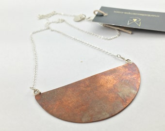 Sterling Silver and Copper Creacent Necklace by Maribelle Campa