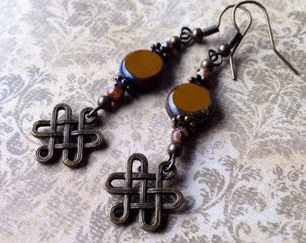 Celtic knot dangle earrings with brown Czech glass beads