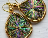 MARDI GRAS thread earrings by Funky Lobez- Metallic Purple, Gold and Green. Let the Good Times Roll!