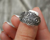 Peacock Feather Jewelry, Unique Silver Peacock Feather Ring, Unique Handmade Peacock Feather Jewelry, Unique Artisan Peacock Feather Ring