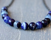 On SALE / CIJ Sale / Nautical Navy Stone Necklace / Navy Blue Summer Necklace / Casual and Weekend Wear Jewelry / Blue Agate