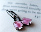 Pink Givre Petites, Estate Style Earrings, Dangle Earrings, Pink, Vintage Jewel Earrings, Drop Earrings