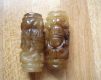 2 Large Carved Agate Tube Beads