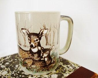 vintage mug woodland deer and fawn stoneware cup otagiri of japan