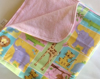 Animal Squares and Pink Stripes Large Flannel Double Sided Receiving Blanket