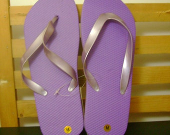 Purple, Black or White Flip Flops - adult M - choice of color