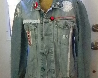 Embellished Calvin Klein Jean Jacket, Size Medium