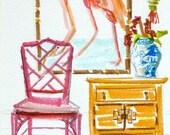Flamingo, Bamboo Chippendale Chair, Art Print, Chinese Lantern, Furniture, Chinoiserie Interior, Pastel Colors, Interior Scene, Ginger Jar