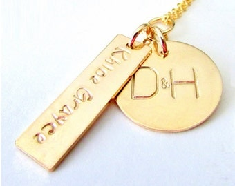 Gold Family Necklace | New Mom Gift | Push Present | Mother's Day Jewelry | Hand Stamped Personalized Custom by E. Ria Designs