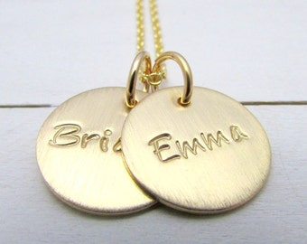 Gold Name Necklace, Hand Stamped Gold Filled Two Charm Letter Necklace CATHERINE DUO by E. Ria Designs