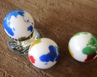 2 World Earth Glass Marbles Continents  23mm Atlas Travel  Colored Clear Solid White