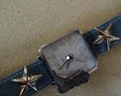 vintage COWGIRL quartz wrist watch, boot, stars, blue denim band, rhinestone, great shape, WORKS, TESTED