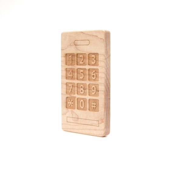 Smart Phone Wood Toy Teether