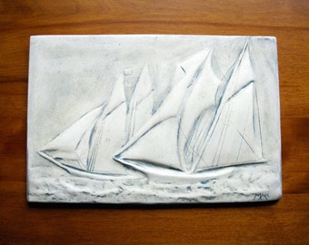 America's Cup Yacht Bas Relief Art Tile 8 x 12 Inch Nautical Decor - Blue Gray Marble