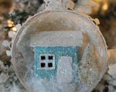 Wee Glitter Cottage Ornament- Pale Blue