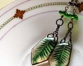 vintage ferns resin earrings, nature inspired earrings, pendulum earrings, gifts under 20