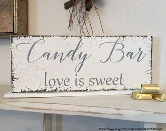 SALE, READY to SHIP, Candy Bar Sign, Love is Sweet, Wedding Signs, Bride and Groom Signs, Mr and Mrs Signs, 4 3/4 x 12