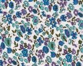 Vintage Blue Purple and Green Flowers on White Background - Feed Sack - Feedsack - Flour Sack