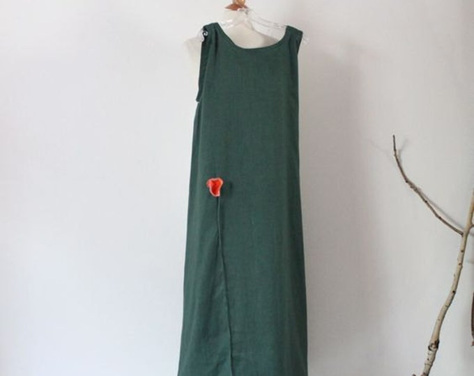 made to order slim shoulder linen dress with 1 poppy flower