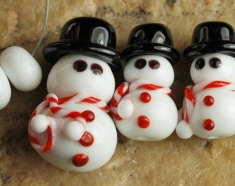 Glass Lampwork Beads, Christmas Beads, Snowman Beads, SRA #935 by CC Design
