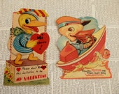 SALE VINTAGE VALENTINES Set/2 1930's Be My Valentine I Love You Ducks