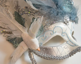 Silver White and Light Blue Venetian Mask