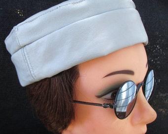 Light Gray Leather Kufi Hat, Unisex Style